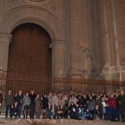 El equipo de Proyecto Raquel Granada tras la oración en la puerta de la Catedral